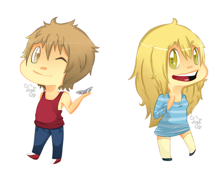 Saito and Heather chibi by Tenshi-Go