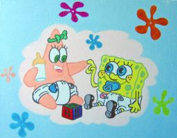 Baby Spongebob and Patrick by linus108Nicole