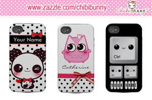 Personalized kawaii Iphone 4/4s cases by BunnyAndI