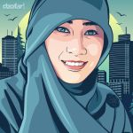 Hijab Girl in Turquoise Vector by ndop