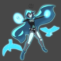 Commission - Blue Lantern Raven by KingKaijuice