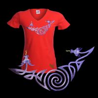 Spiral Dragons Embroidery on red  V-neck T-shirt by FancyTogs