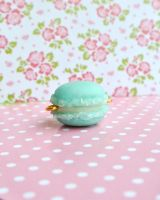 light blue clay macaron, My first ever charm! by xmy-craftsx