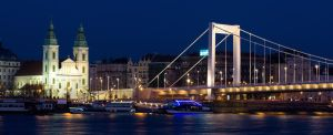 Inner City Parish Church and Erzsebet Bridge by kalmarn