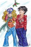 Percabeth Christmas doodle by TheInkgirl