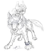 Link and Midna sketch by SilverFlight