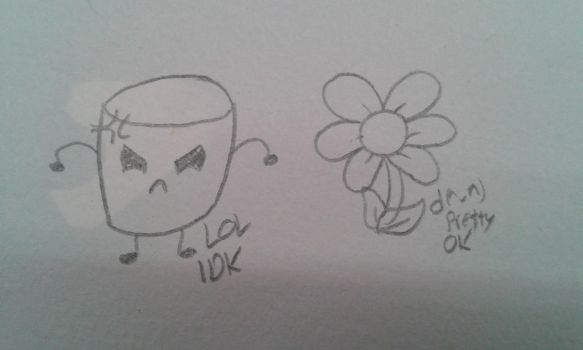 Angry marshmallow and a flower! by OneGirlOneNightmare
