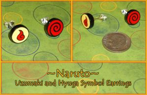 Naruto - Uzumaki and Hyuga Symbol Stud Earrings by YellerCrakka