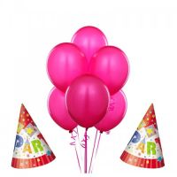 5PCS PINK BALLOONS AND TWO PCS PARTY HATS by Joogifts