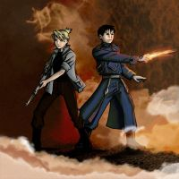 fma fanart: Roy and Riza fighting back to back by astridv