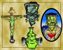 Frankenstein Tattoo Flash 3 by BeeJayDeL