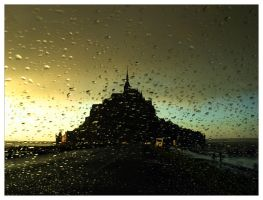 Storm at Mont St. Michel by br3w0k