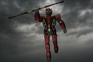 3d Red dragon thunderzord/Ryuuseioh Warrior by Wewvic