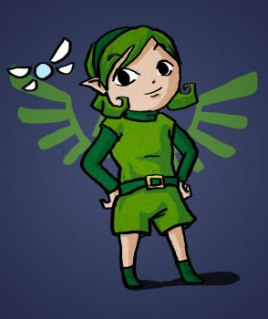 Saria in Zelda Wind Waker style by songe-creux