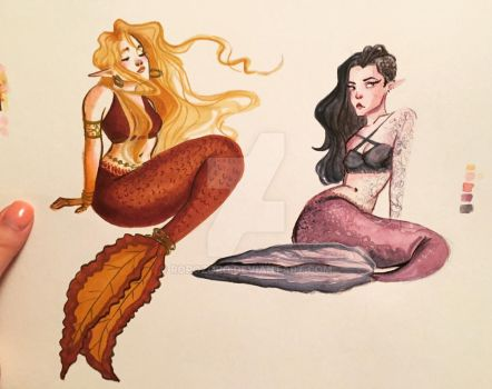 Mermaids: a color study by RoroZoro