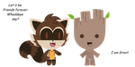Rocket and Groot(Sam the kitty style) by Cutiegirlz