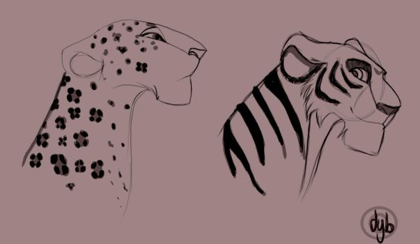 Tigress and Leopard by dyb