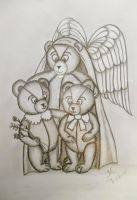Guardian Angel bear with cubs by JMCARTSNCRAFTS