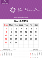 March 2015 Calendar Template Vector Free by 123freevectors