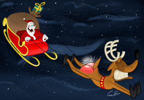 Rudolph flies faster by SarToons