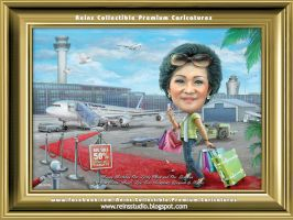 Travelling Mother In Law Premium Caricatures by Reinsstudio