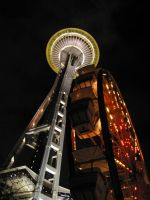 Space Needle and Ferris Wheel by revolutionheart