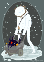 Snow Golem and Fire Pup by StoryShepherd