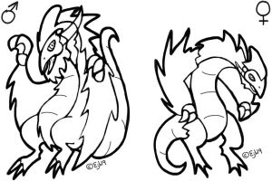 Free Male And Female Wyvern Lineart by ISZK-tv
