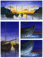 Four Fishing Boats 1 of 6 by EmilyWalus