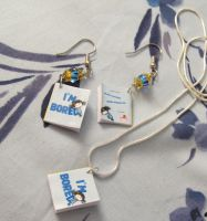 'I'm Bored' Book Charm Jewelry Set by emmadreamstar