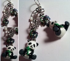 Pandas and Chainmaille. All in one, one per ear. by annieheart12