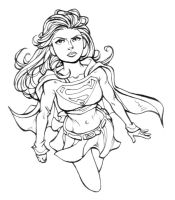 supergirl lineart by xryss