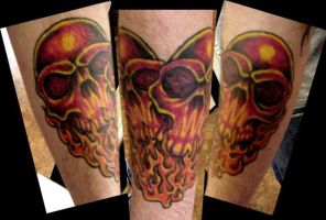 Red skull heart Tattoo+HEALED+ by Mr-Taboo