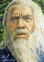 Ian McKellen as Gandalf sketch card by therealbradu