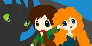 Merida, Hiccup and Toothless by Queen-Of-Cute