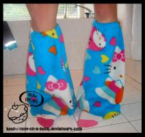 Hello kitty legwarmers by love-on-a-stick