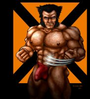 Wolverine in a Red Fundoshi by ktastrofe