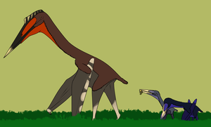 Hatzegopteryx and Two Eurazhdarcho by StygimolochSpinifer