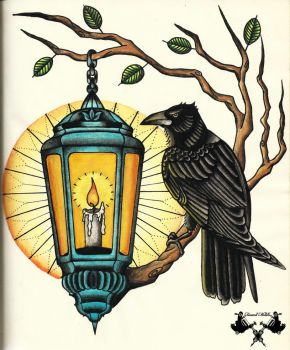 tattoo-flash crow and lantern by Tausend-Nadeln