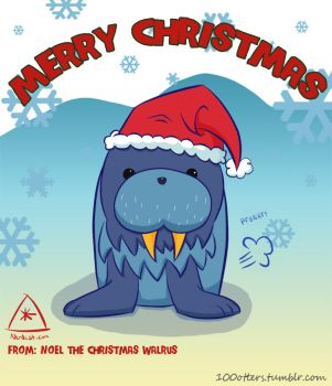 Noel the Christmas Walrus by coconutpug