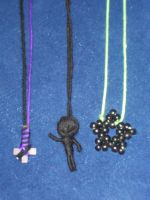 3 necklaces made from yarn by 6death6stars6