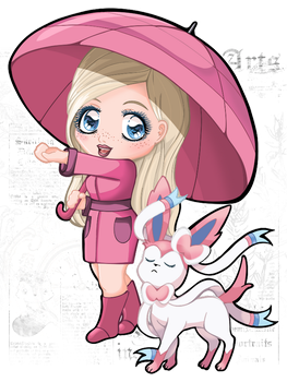 Pokemon Trainer Maomi with Sylveon by Chibivi-Linearts