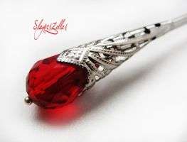 Hair stick with red faceted crystal by Benia1991