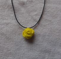Yellow rose necklace by MeticulousBlue