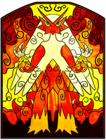 Stained Glass: Blaziken by Ilona-the-Sinister