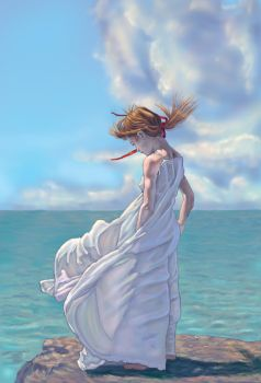 Girl By The Sea by paintgirl
