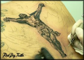 Jesus tattoo detail by Reddogtattoo