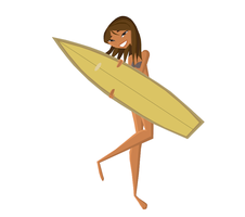 Stoked Courtney with surfboard by CIT-Courtney