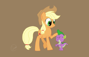Applejack and Spike by chaosmalefic