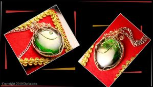 Green and silver pendant by DarkRaven17